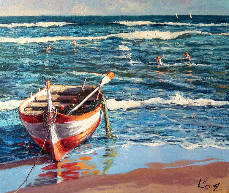 Marina - Barca en la playa - Óleo - 55x46cm - ©Lucía Gómez Serra
