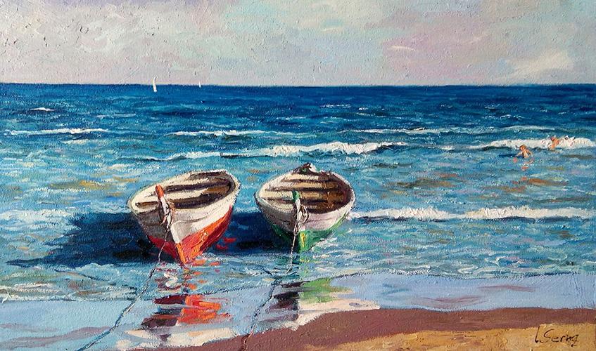 Marina - Barcas en la playa - Óleo - 33x56cm -©Lucía Gómez Serra
