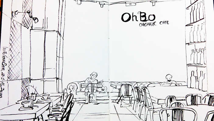 Urban sketching en la cafetería OhBo, en Barcelona © Lucía Gómez Serra