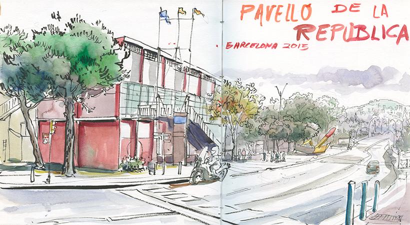 Urban sketching: Pavelló de la Republica. © Lucía Gómez Serra