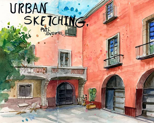 Urban Sketching: Centre cívic Pati Llimona. © Lucía Gómez Serra
