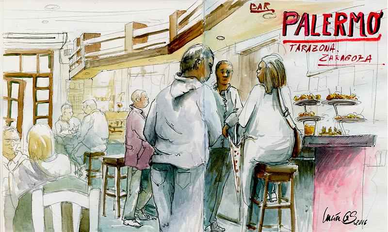 Urban sketching: Bar Palermo Tarazona. © Lucía Gómez Serra