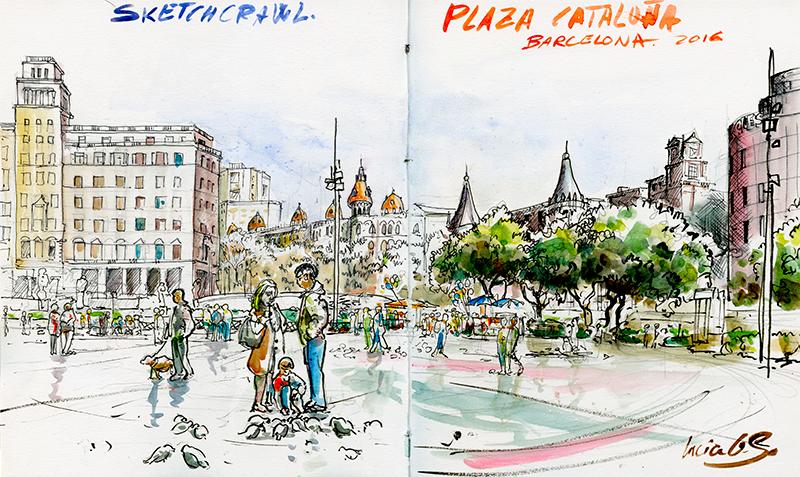 Urban sketching: Plaza Cataluña Sketchcrawl. © Lucía Gómez Serra