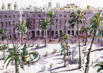 Urban sketching - Plaza reial, Barcelona © Lucía Gómez Serra