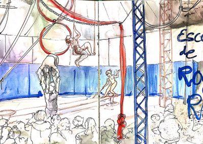 Escola de circ Rogelio Rivel - Urban sketching - Acuarela y tinta - © Lucía Gómez Serra