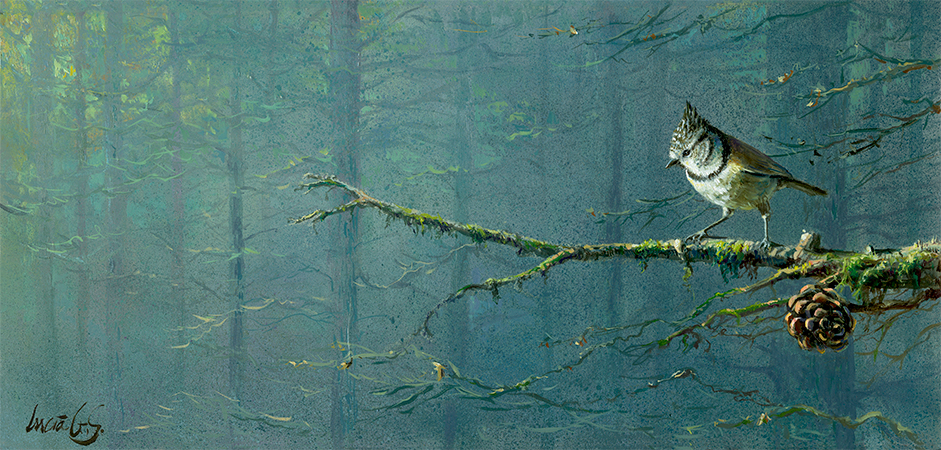 Herrerillo capuchino / Crested tit / Lophophanes cristatus – Pintura al óleo sobre tabla de madera / Oil painting on wood – © Lucía Gómez Serra