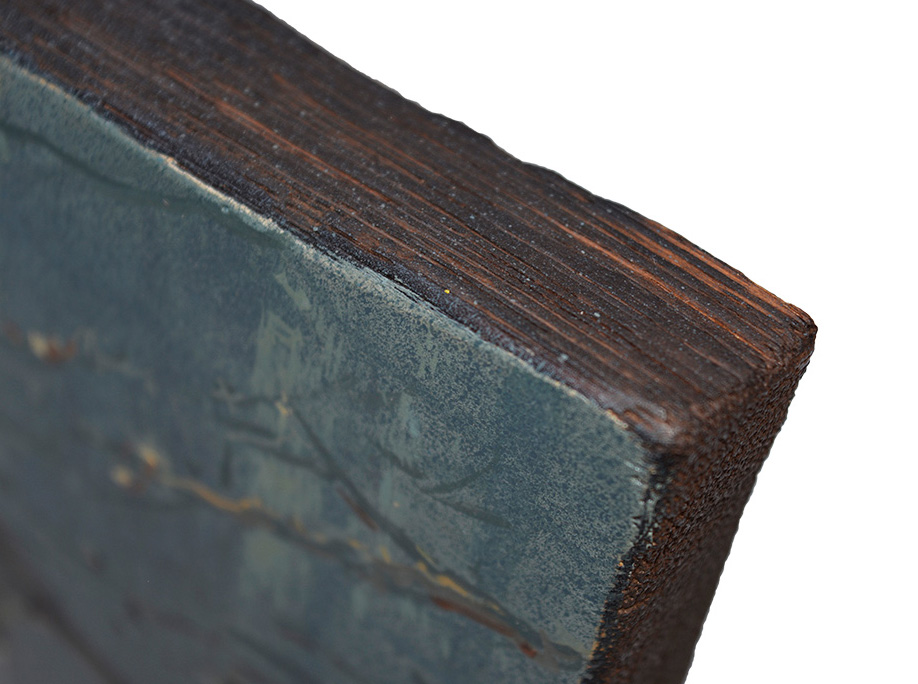 Herrerillo capuchino / Crested tit / Lophophanes cristatus – Pintura al óleo sobre tabla de madera de sapeli /Oil painting on sapele wood – 36,5x17,5x2cm - © Lucía Gómez Serra