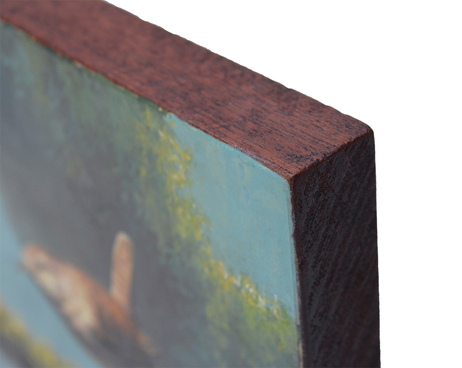 Chochín común / Winter wren / Troglodytes troglodytes - Pintura al óleo sobre tabla de madera de sapeli / Oil painting on sapele wood - 23,3x15,7x2cm - © Lucía Gómez Serra