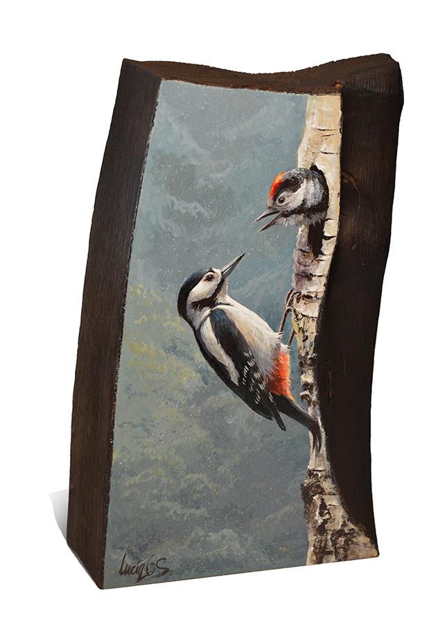 Pico picapinos / Great spotted woodpecker / Dendrocopos major - Sobre madera de cerezo / painting on cherrywood - 14x23,5x6cm – © Lucía Gómez Serra