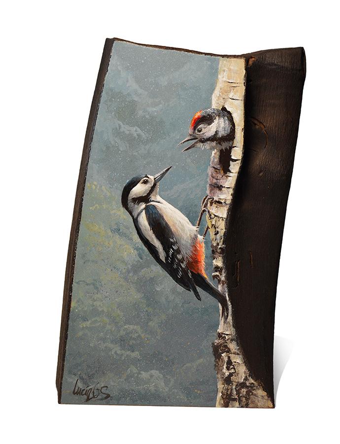 Pico picapinos / Great spotted woodpecker / Dendrocopos major - Sobre madera de cerezo / painting on cherrywood -14x23,5x6cm– © Lucía Gómez Serra