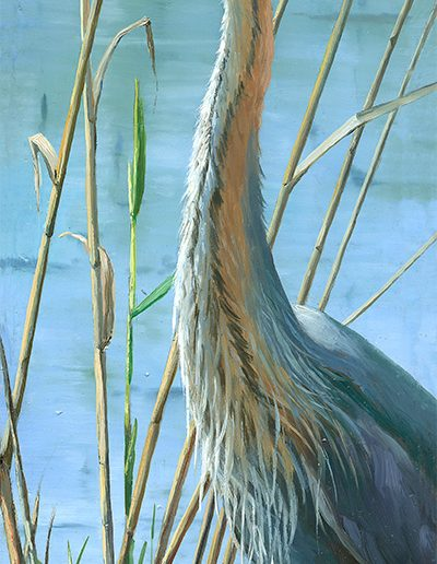 Garza imperial / Purple heron / Ardea purpurea - Óleo sobre bloque de madera / Oil painting on wooden block - © Lucía Gómez Serra
