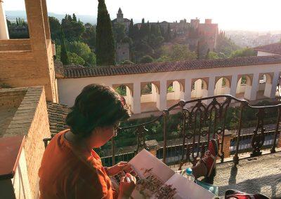 Dibujando en La Alhambra