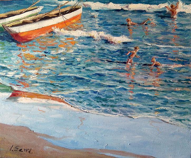 Marina - En la playa - Óleo - 55x46cm -©Lucía Gómez Serra
