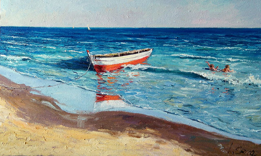 Marina - La barca - Óleo - 33x56cm -©Lucía Gómez Serra