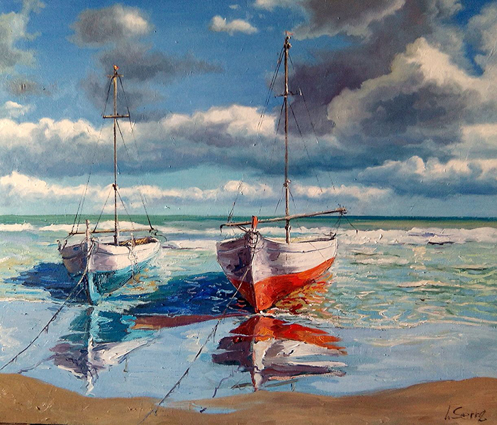 Marina - Las barcas - Óleo - 59x61cm -©Lucia_Gomez_Serra
