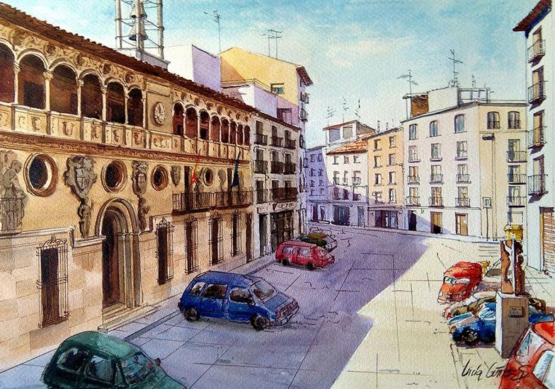 Plaza España de Tarazona - acuarela - 60x43cm -©Lucía Gómez Serra