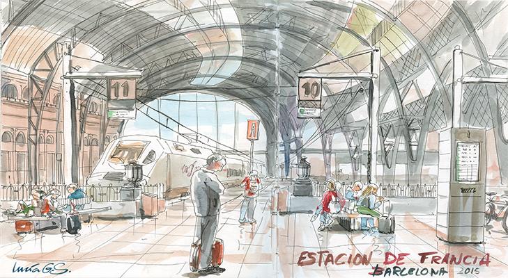 Estació de França, Barcelona -Urban sketching @ Lucía Gómez Serra