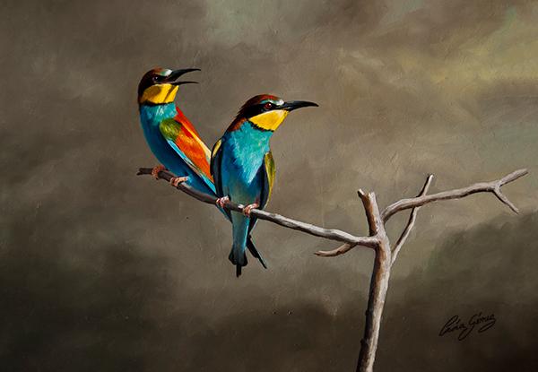 Abejaruco europeo / European bee-eater / Merops apiaster - Óleo sobre tabla de madera / Oil painting on wood - © Lucía Gómez Serra - Vendido