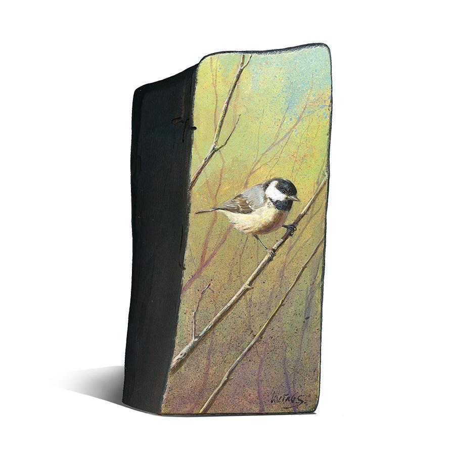 Carbonero garrapinos / Coat tit / Periparus ater – Acrílico sobre tabla de madera / Acrylic painting on wood – © Lucía Gómez Serra - Vendido