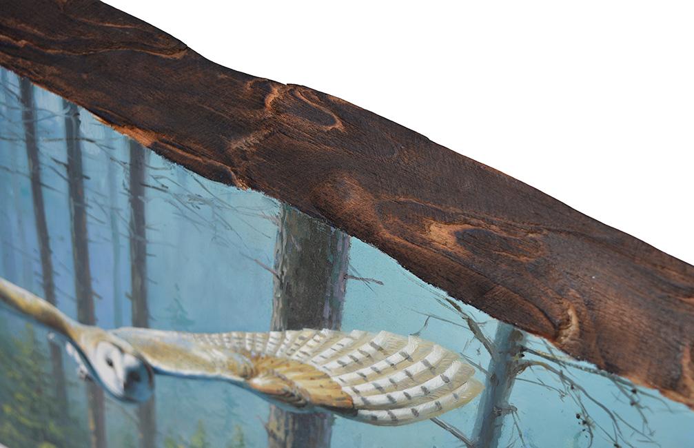 Lechuza común / Barn owl / Tyto alba – Óleo sobre tabla de madera de cerezo / Oil painting on cherrywood – 61×22,5×2,5 cm -© Lucía Gómez Serra