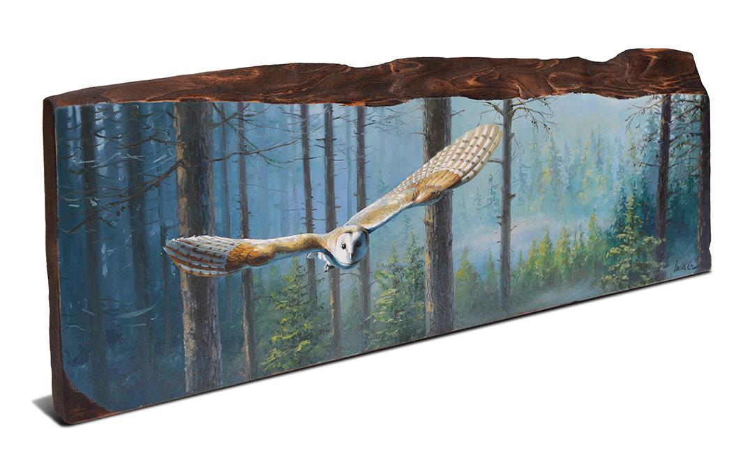 Lechuza común / Barn owl / Tyto alba – Óleo sobre tabla de madera de cerezo / Oil painting on cherrywood – 61 × 22,5 × 2,5 cm -© Lucía Gómez Serra -PVP: 550€