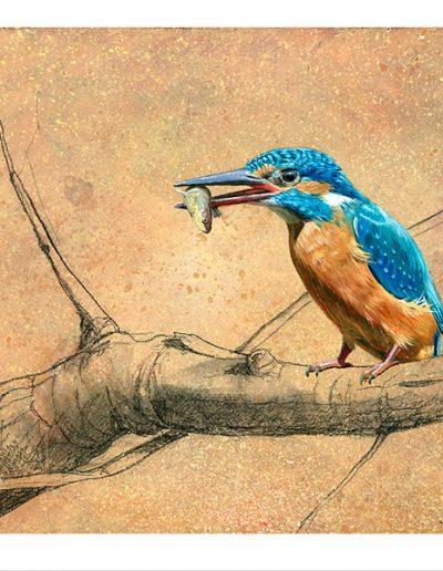 Martín pescador común / Common kingfisher / Alcedo atthis – Óleo sobre bloque de madera / Oil painting on wooden block - © Lucía Gómez Serra