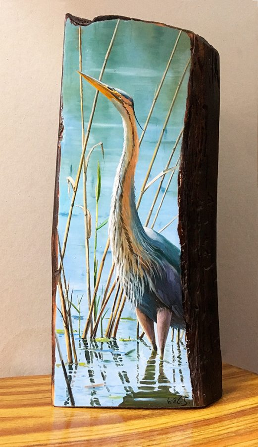 Garza imperial / Purple heron / Ardea purpurea - Óleo sobre bloque de madera / Oil painting on wooden block - 17 x 36,5 x 6,7 cm - © Lucía Gómez Serra - PVP: 400€