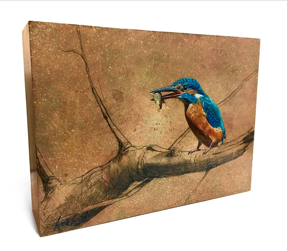 Martín pescador común / Common kingfisher / Alcedo atthis – Óleo sobre bloque de madera / Oil painting on wooden block - 25,6 x 18,7 x 6,5 cm -© Lucía Gómez Serra - PVP: 300€