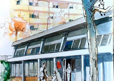 Biblioteca Montbau -Urban sketching @ Lucía Gómez Serra