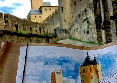 Carcassonne -Urban sketching @ Lucía Gómez Serra