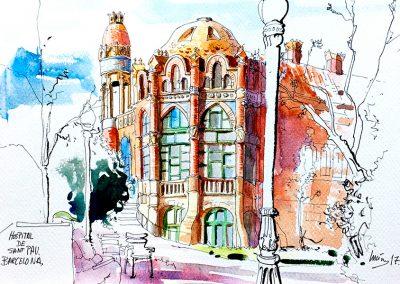 Hospital de Sant Pau - Urban sketching @ Lucía Gómez Serra