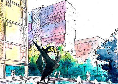 Pla de Montbau - Urban sketching @ Lucía Gómez Serra