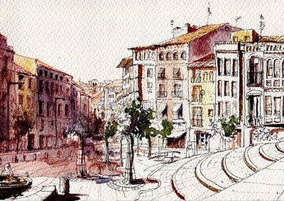 Plaza de la Seo, Tarazona - Urban sketching @ Lucía Gómez Serra
