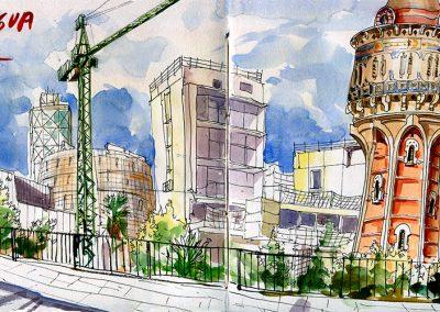 Torre del agua, Barcelona - Urban sketching @ Lucía Gómez Serra