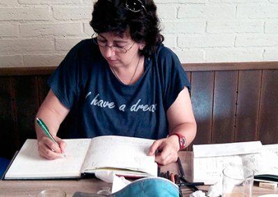 Urban sketching en el Bar Amadeo, Tarazona, 8 de julio de 2015 -Urban sketching @ Lucía Gómez Serra